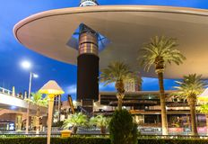 LAS VEGAS - MAY 29, 2015: Fashion Show Mall in Las Vegas at dusk. One of the largest enclosed malls in the world with stock photos