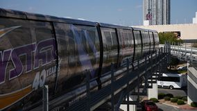 Las Vegas monorail. In action establish shot clip stock footage