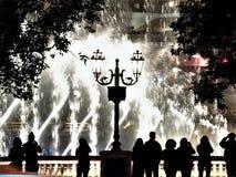 Las Vegas Musical Fountain Silhouettes of Tourists stock photo