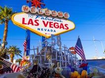 Las Vegas na verschrikkingsaanval - uitdrukking van deelneming - LAS VEGAS - NEVADA - OKTOBER 12, 2017 Royalty-vrije Stock Afbeeldingen