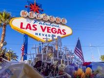 Las Vegas na verschrikkingsaanval - uitdrukking van deelneming - LAS VEGAS - NEVADA - OKTOBER 12, 2017 Stock Afbeeldingen