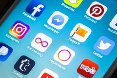 LAS VEGAS, nanovolt - agosto 26,2016: Foco seletivo Apple da vinheta mim Imagens de Stock Royalty Free