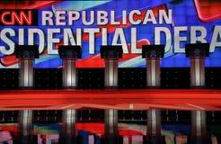 LAS VEGAS, Nanovolt am 15. Dezember 2015 leere Podien an der CNN-republikanischen Präsidentendebatte am venetianischen Erholungso Stockfotografie