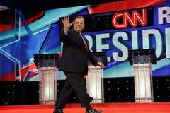 LAS VEGAS, nanovolt, o 15 de dezembro de 2015, NJ Gov Chris Christie uns 2016 candidato presidencial, ondas na fase no início do  Foto de Stock