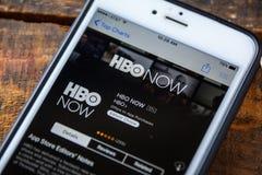 LAS VEGAS, Nanovolt - 22. September 2016 - HBO APP iPhone JETZT im A lizenzfreie stockfotos