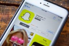 LAS VEGAS, nanovolt - 22 septembre 2016 - IPhone APP de Snapchat dans photographie stock libre de droits