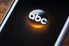 LAS VEGAS, nanovoltio - 22 de septiembre 2016 - ABC App en el SCR del iPhone de Apple Fotografía de archivo