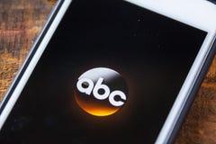 LAS VEGAS, nanovoltio - 22 de septiembre 2016 - ABC App en el SCR del iPhone de Apple Imagen de archivo