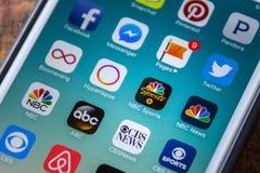 LAS VEGAS, nanovoltio - 22 de septiembre 2016 - Icono del App de los deportes del NBC en el Appl Foto de archivo