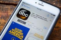 LAS VEGAS, nanovoltio - 22 de septiembre 2016 - IPhone App de ABC en Apple Foto de archivo