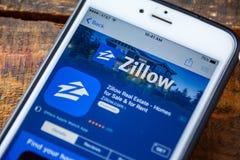 LAS VEGAS, nanovoltio - 22 de septiembre 2016 - IPhone App de Zillow en el Ap Fotografía de archivo