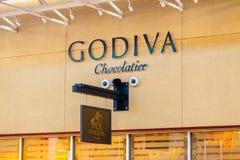 LAS VEGAS, NEVADA - 22 agosto 2016: Godiva Chocolate Logo On immagini stock libere da diritti