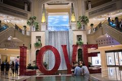 Love art installation at the Venetian. Las Vegas, Nevada: August 3, 2017: LOVE, an  Art Installation at the Venetian.  Laura Kimpton is the artist who created Royalty Free Stock Photo