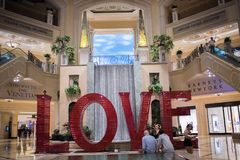 Love art installation at the Venetian. Las Vegas, Nevada: August 3, 2017: LOVE, an  Art Installation at the Venetian.  Laura Kimpton is the artist who created Stock Photography