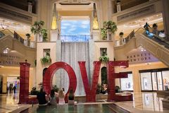 Love art installation at the Venetian. Las Vegas, Nevada: August 3, 2017: LOVE, an  Art Installation at the Venetian.  Laura Kimpton is the artist who created Stock Images