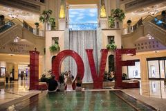 Love art installation at the Venetian. Las Vegas, Nevada: August 3, 2017: LOVE, an  Art Installation at the Venetian.  Laura Kimpton is the artist who created Royalty Free Stock Photography