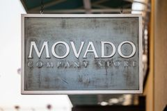 LAS VEGAS, NEVADA - 22. August 2016: Movado Logo On Store Fron Stockfoto