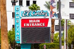LAS VEGAS, NEVADA - August 22nd, 2016: El Cortez In Las Vegas En. Trance Sign royalty free stock photo