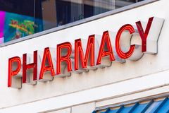 LAS VEGAS, NEVADA - August 22nd, 2016: Pharmacy Sign On Fremont Stock Images