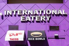 LAS VEGAS NEVADA - Augusti 22nd, 2016: Internationell Eatery på F arkivfoto