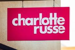 LAS VEGAS, NEVADA - Augustus tweeëntwintigste, 2016: Charlotte Russe Logo On S royalty-vrije stock fotografie