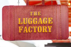 LAS VEGAS, NEVADA - Augustus tweeëntwintigste, 2016: Het Embleem van de Bagagefabriek Stock Foto's