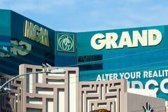 LAS VEGAS, NEVADA - Augustus tweeëntwintigste, 2016: MGM-Grand op Las Vegas St stock afbeeldingen