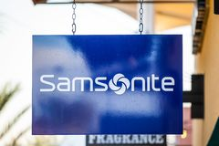LAS VEGAS, NEVADA - Augustus tweeëntwintigste, 2016: Samsonite Logo On Store F Royalty-vrije Stock Foto's