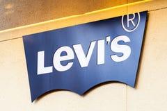 LAS VEGAS, NEVADA - 22 de agosto de 2016: Levi's Logo On Store Fron fotografia de stock royalty free