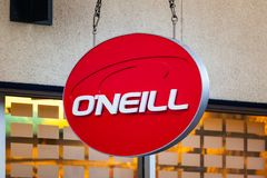 LAS VEGAS, NEVADA - 22 de agosto de 2016: O'Neill Logo On Store Fro fotografia de stock