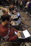 LAS VEGAS NEVADA, 14 DECEMBER, 2015: nationale nieuwsmedia tpes in computers tijdens gebeurtenis van de Troef de Presidentiële ca Royalty-vrije Stock Afbeeldingen