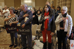 LAS VEGAS, NEVADA, DECEMBER 17, 2015: Political supporters of Republican Presidential candidate Sen. Ted Cruz holds hand on for pl Royalty Free Stock Image