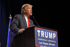 LAS VEGAS NEVADA, DECEMBER 14, 2015: Republican presidential candidate Donald Trump speaks at campaign event at Westgate Las Vegas Royalty Free Stock Photography