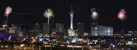 A Stratosphere Fireworks View from McCarran International Airpor. Las Vegas, Nevada - December 28: The Stratosphere Casino on December 28, 2012, in Las Vegas Royalty Free Stock Photos