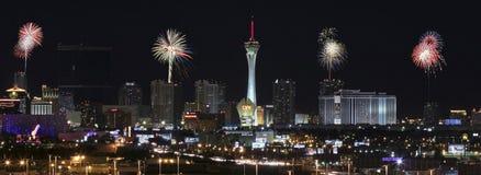 Eine Stratosphäre-Feuerwerks-Ansicht von McCarran International Airpor Lizenzfreie Stockfotos