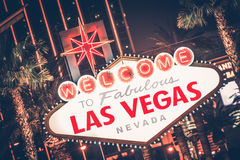 Las Vegas Nevada. Famous Strip Sign at Night. United States stock photo