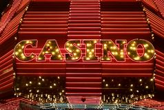 Illuminated Sign Above the Entrance of the Fremont Casino in Las Vegas royalty free stock photography