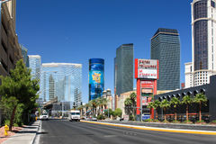 Las Vegas, Nevada - June 18 2010. Beautiful day view of the streets of Las Vegas with its luxurious skyscrapers. Royalty Free Stock Image