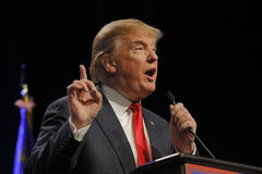 LAS VEGAS NEVADA, LE 14 DÉCEMBRE 2015 : Le candidat républicain à la présidentielle Donald Trump parle à l'événement de campagne  Image libre de droits