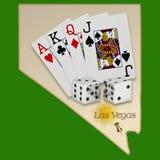 Las Vegas,Nevada(Map). Map of Las Vegas with dice,cards,and sun depicting Las Vegas Royalty Free Stock Photo