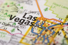 Las Vegas, Nevada on map. Closeup of Las Vegas, Nevada on a road map of the United States stock photo