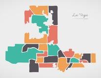 Las Vegas Nevada Map con le vicinanze e le forme rotonde moderne Immagini Stock Libere da Diritti