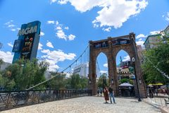 Brooklyn Bridge, New York-New York Hotel and Casino, Las Vegas Strip in Paradise, Nevada, United States. Las Vegas, Nevada - May 28, 2018 : Brooklyn Bridge, New royalty free stock photos