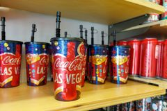 Coca-Cola Store in Las Vegas strip. Las Vegas, Nevada - May 28, 2018 : Coca-Cola Store in Las Vegas strip royalty free stock image