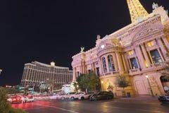Facade of Paris Las Vegas hotel and Casino at night in Las Vegas strip. Las Vegas, Nevada - May 27, 2018 : Facade of Paris Las Vegas hotel and Casino at night in Royalty Free Stock Image
