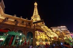 Facade of Paris Las Vegas hotel and Casino at night in Las Vegas strip. Las Vegas, Nevada - May 27, 2018 : Facade of Paris Las Vegas hotel and Casino at night in Stock Image