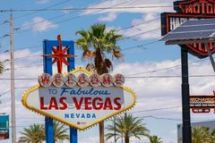 Welcome to Fabulous Las Vegas sign at the south end of world famous Las Vegas strip. Las Vegas, Nevada - May 29, 2018 : Welcome to Fabulous Las Vegas sign at the Stock Photography