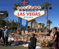 Las Vegas, Nevada: Opłakiwać miejsce po Mszalnej strzelaniny 2017 zdjęcia royalty free