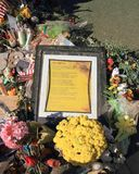 Las Vegas, Nevada: Religious Poem at Mourning Site after Mass Shooting 2017 Stock Photos