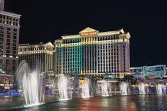 Las Vegas, Nevada, S 30 agosto 2017: Musical, manifestazione ballante della fontana al casinò dell'hotel di Bellagio Palazzo di C Immagini Stock